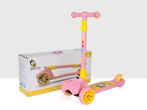 Pink folding scooter and box