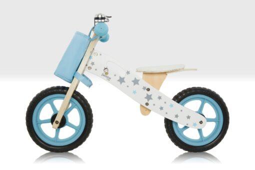 blue wooden balance bike
