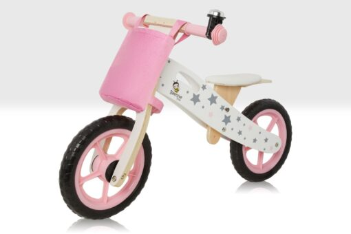 wooden balance bike pink with stars